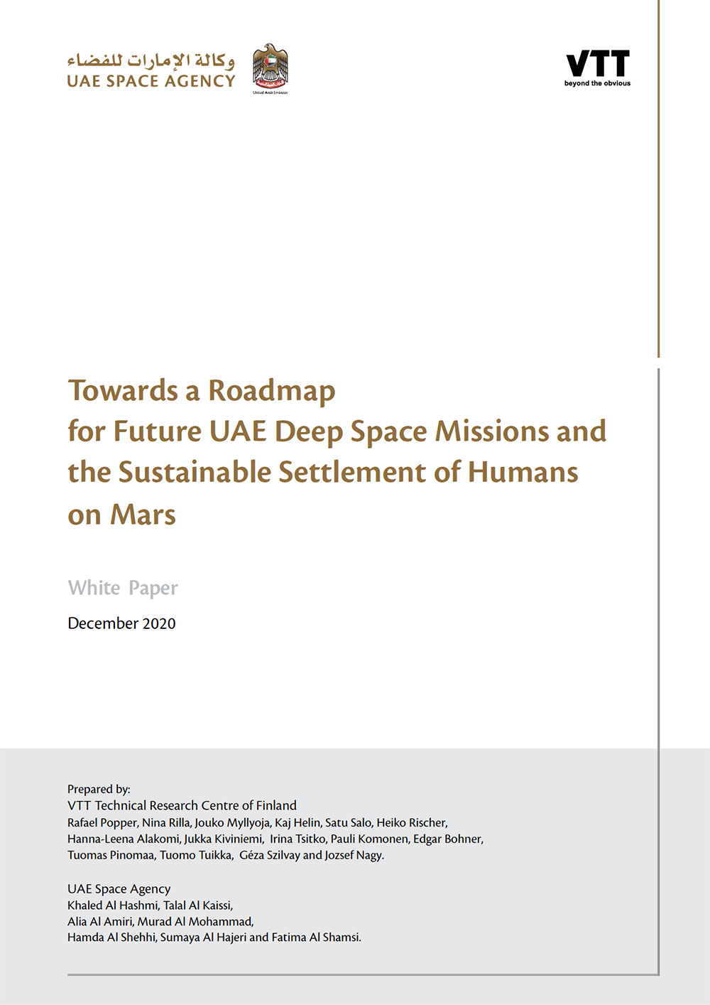 Towards a Roadmap for Future UAE Deep Space Missions and the Sustainable Settlement of Humans on Mars (Popper et al., 2020)